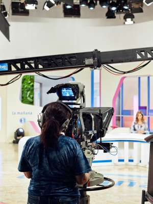 Camera woman at the TVE studio