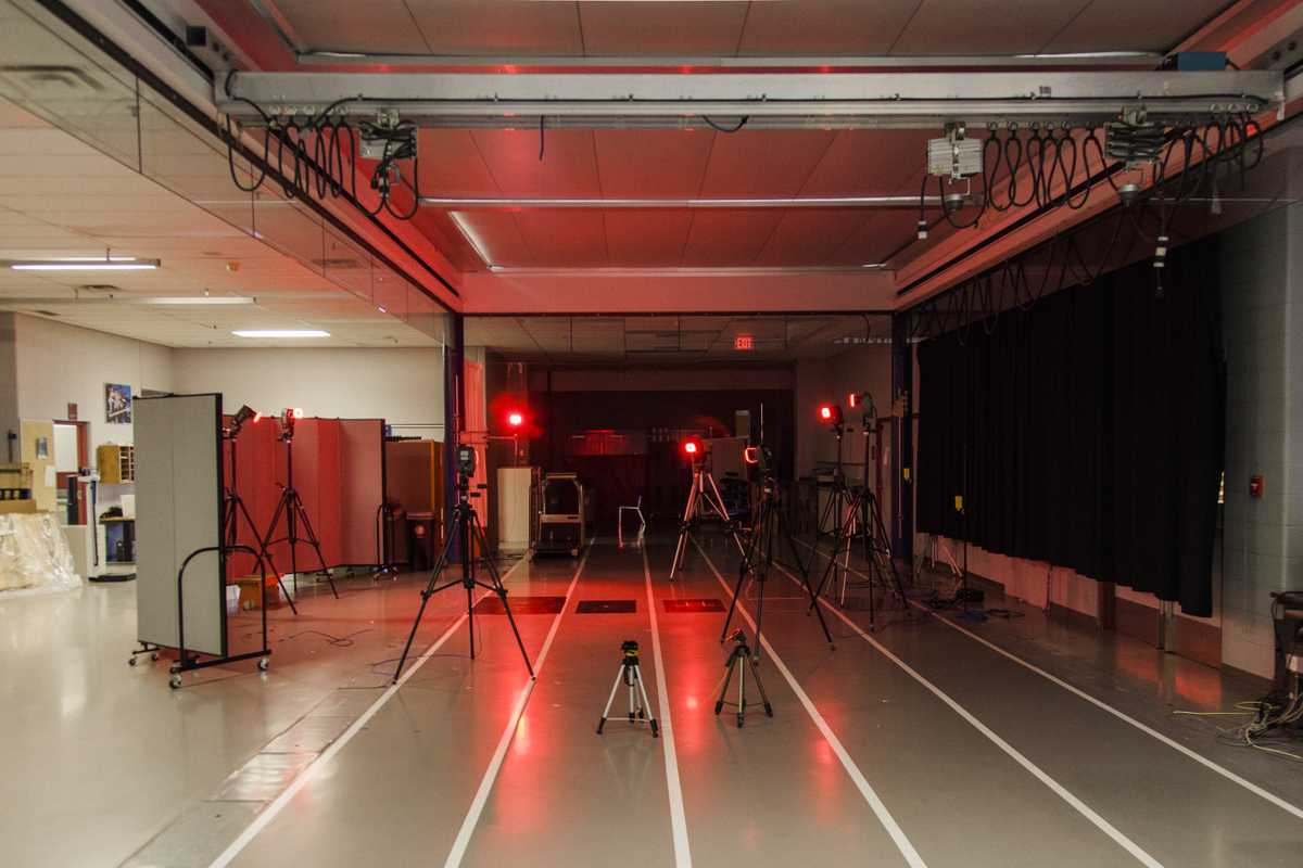 Cameras set up to record body movements