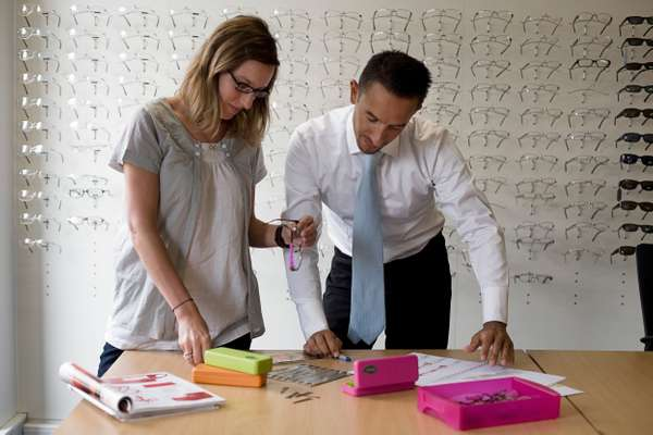Herjean Nolwenn, product manager (left) and Stéphane Solinski, deputy CEO, review frame designs