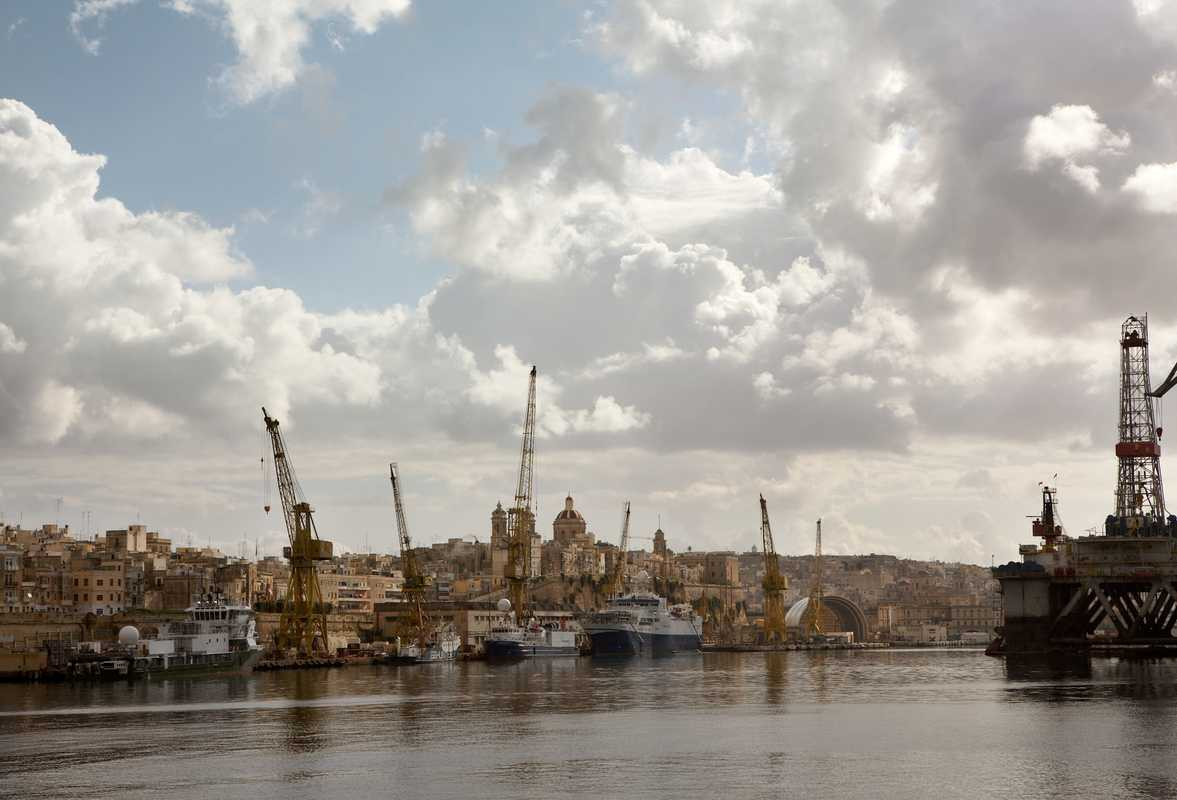 A view of the yacht repair yard from the Grand Harbour