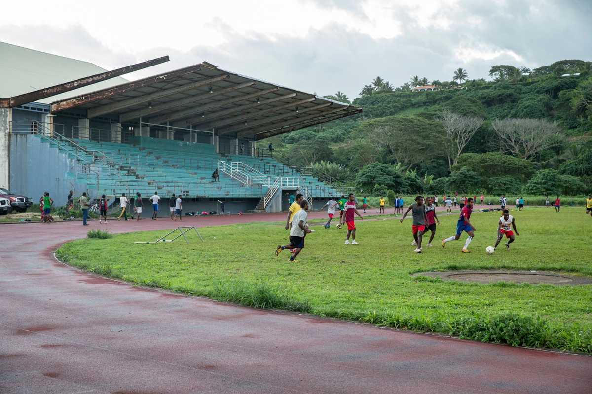 Burnt-out stadium in Port Vila