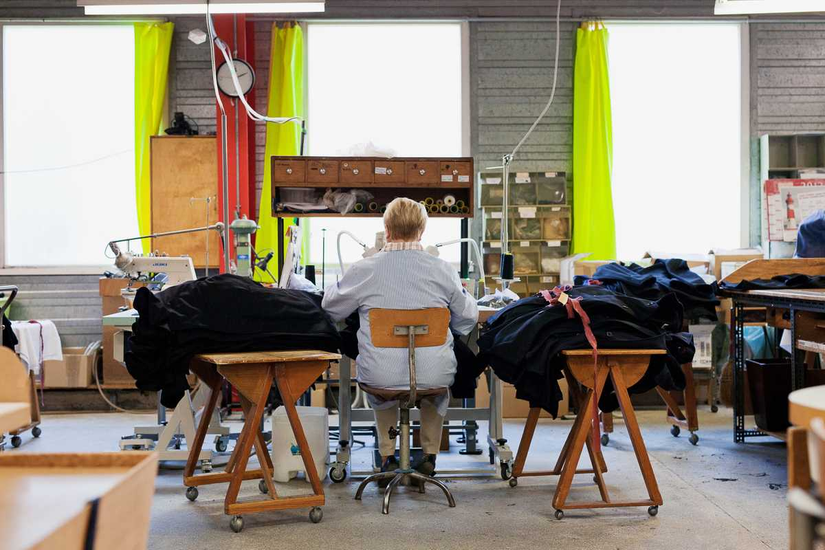 Workwear being produced in the factory