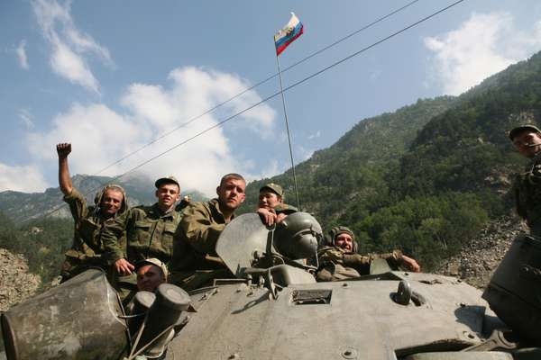 A Russian tank on the Transcaucasian highway from Vladikavkaz into South Ossetia