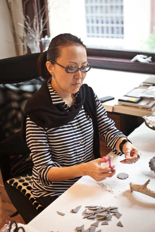 Artist Kana Harada in her studio in downtown Dallas