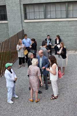 Guests arriving for the Jacob Kassay opening at The Power Station
