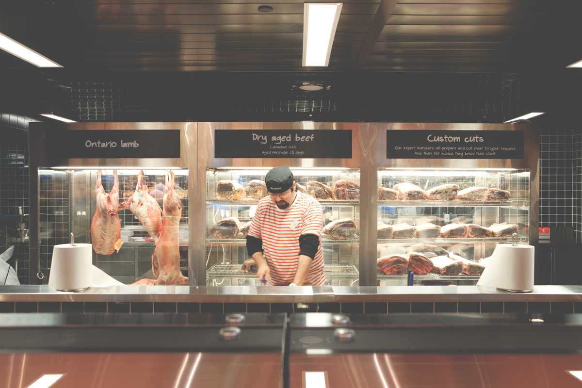 Even a butcher can look friendly and approachable in a striped t-shirt