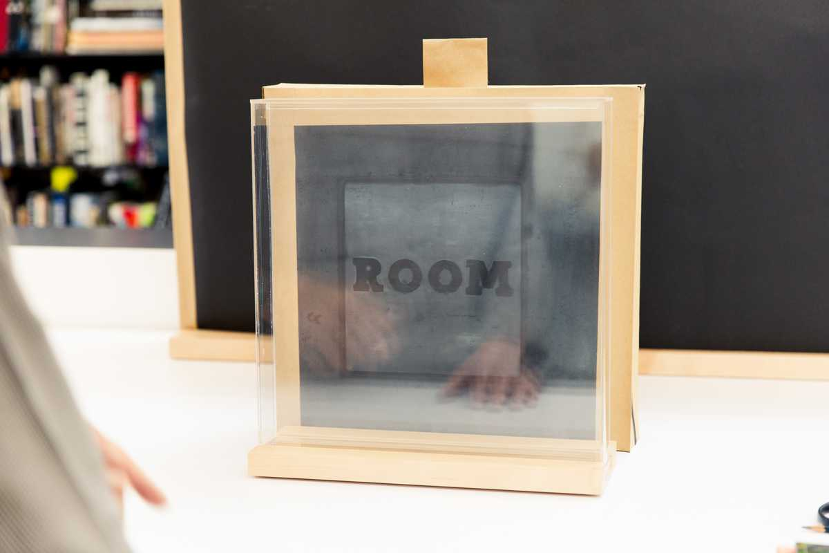 The framing glass from one of Ruscha's works