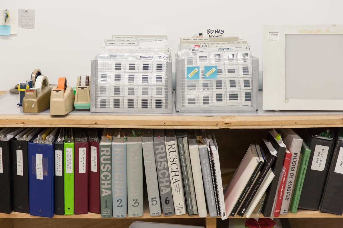 Shelf in Ruscha's office