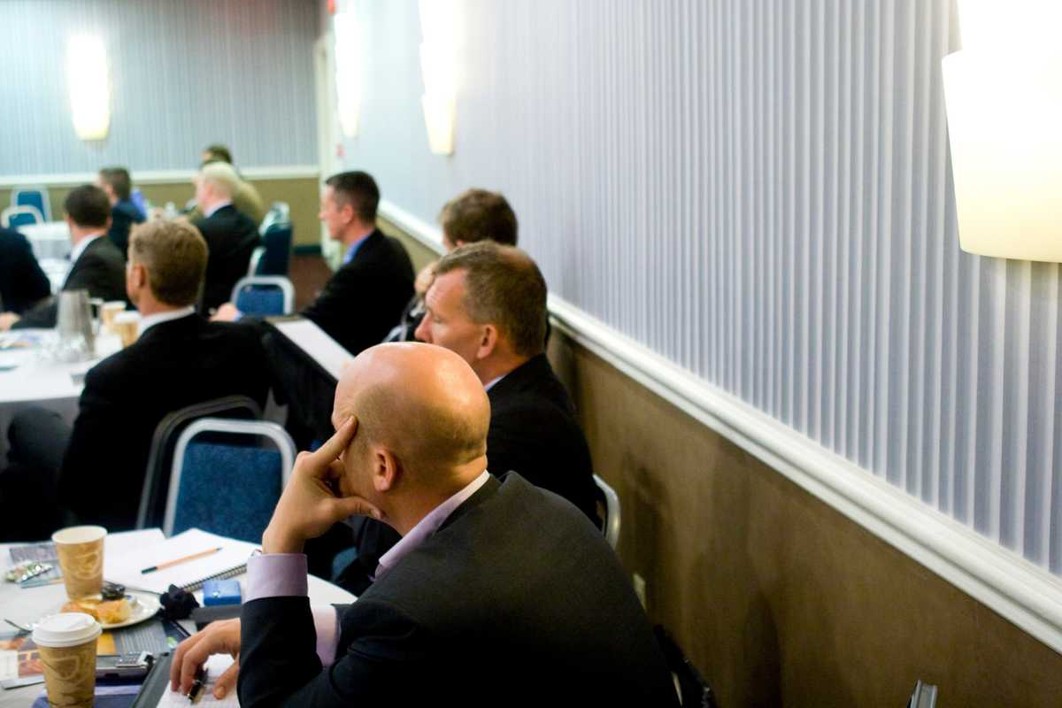 Conference attendees listen to Major Beebe's talk on African security
