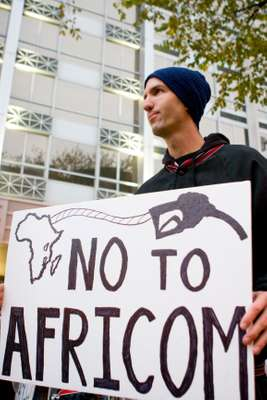 Anti-Africom demo outside the conference