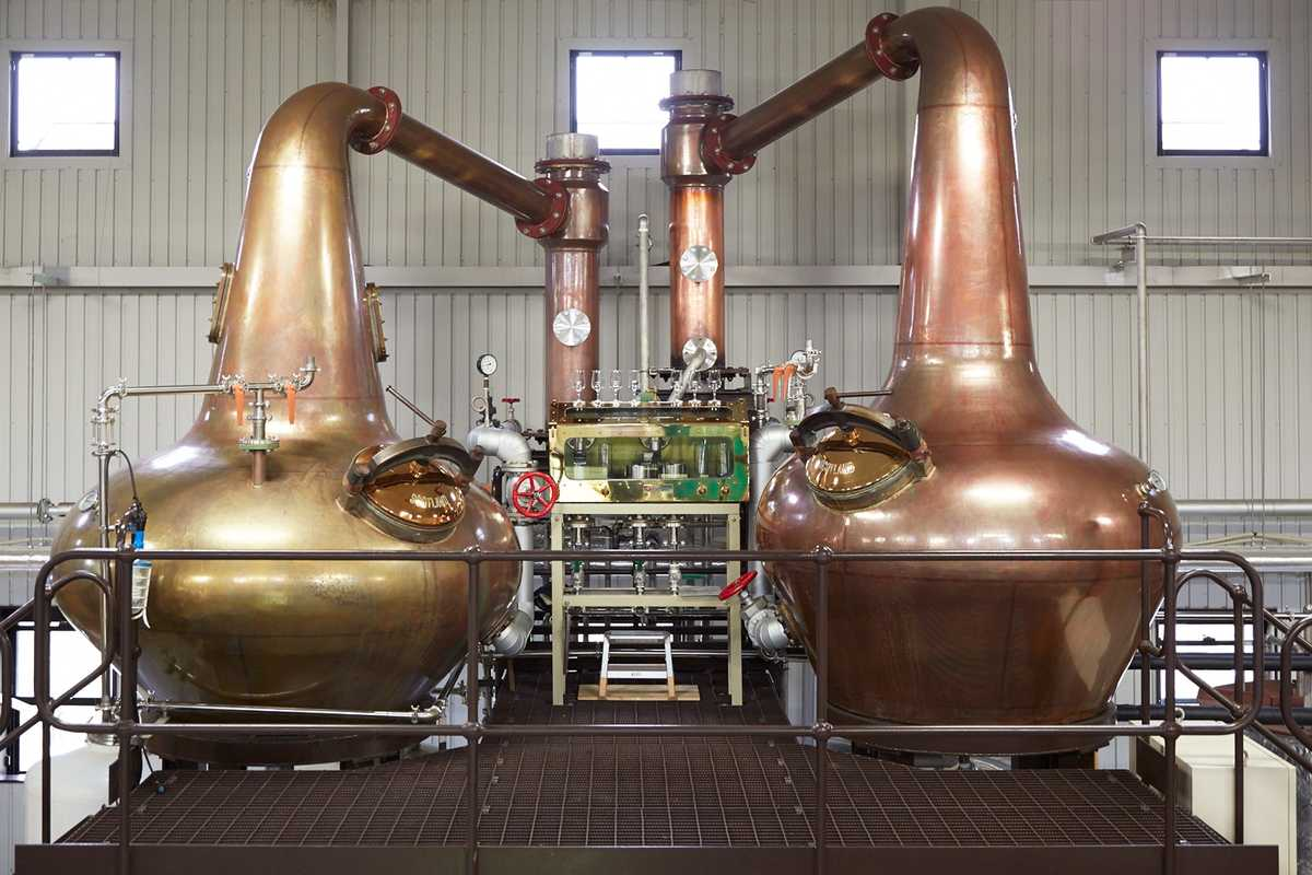Copper pot and spirit stills, custom-made by Forsyths in Scotland