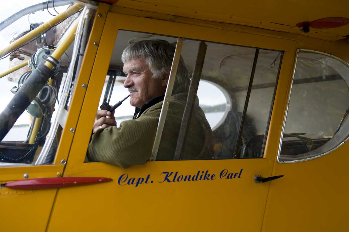 Carl Clouter in his plane