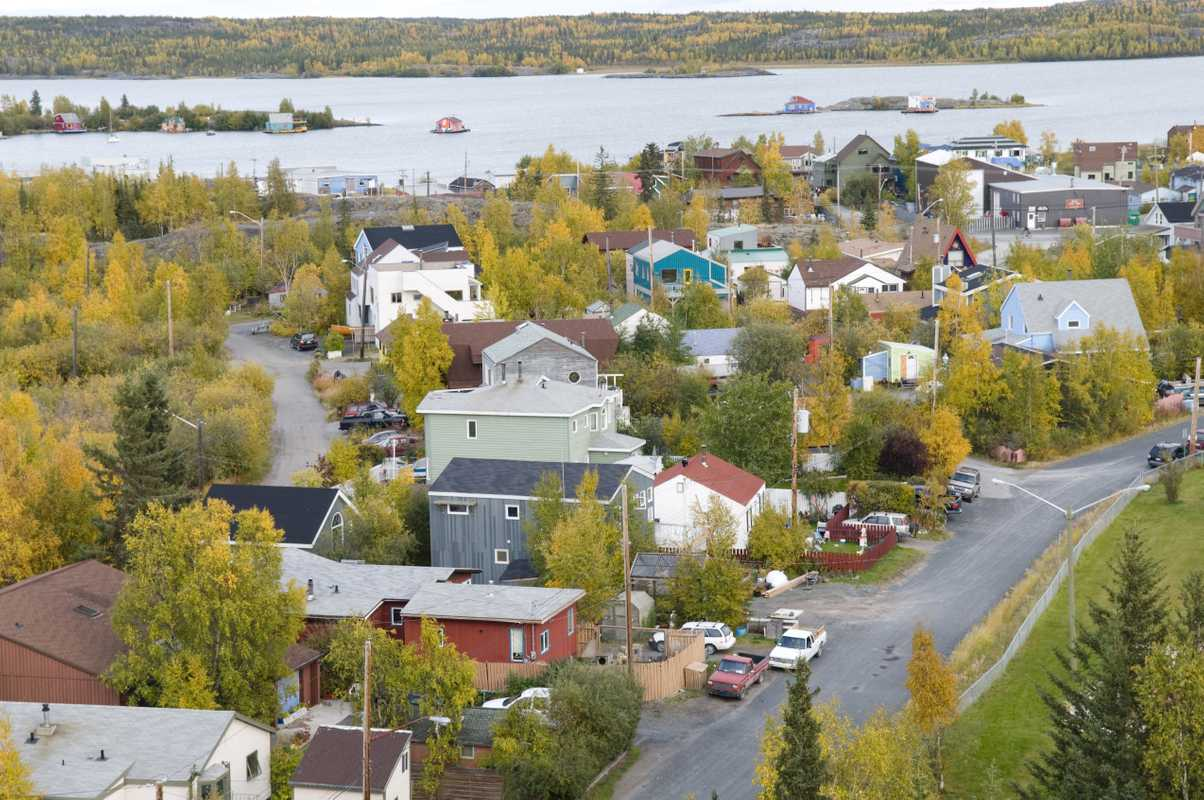 Yellowknife old town on Great Slave Lake