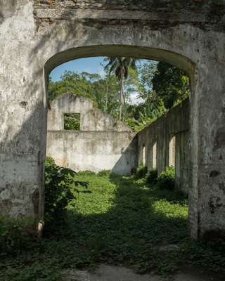 The buildings have been stripped of anything of any worth; the remains have been reclaimed by the jungle