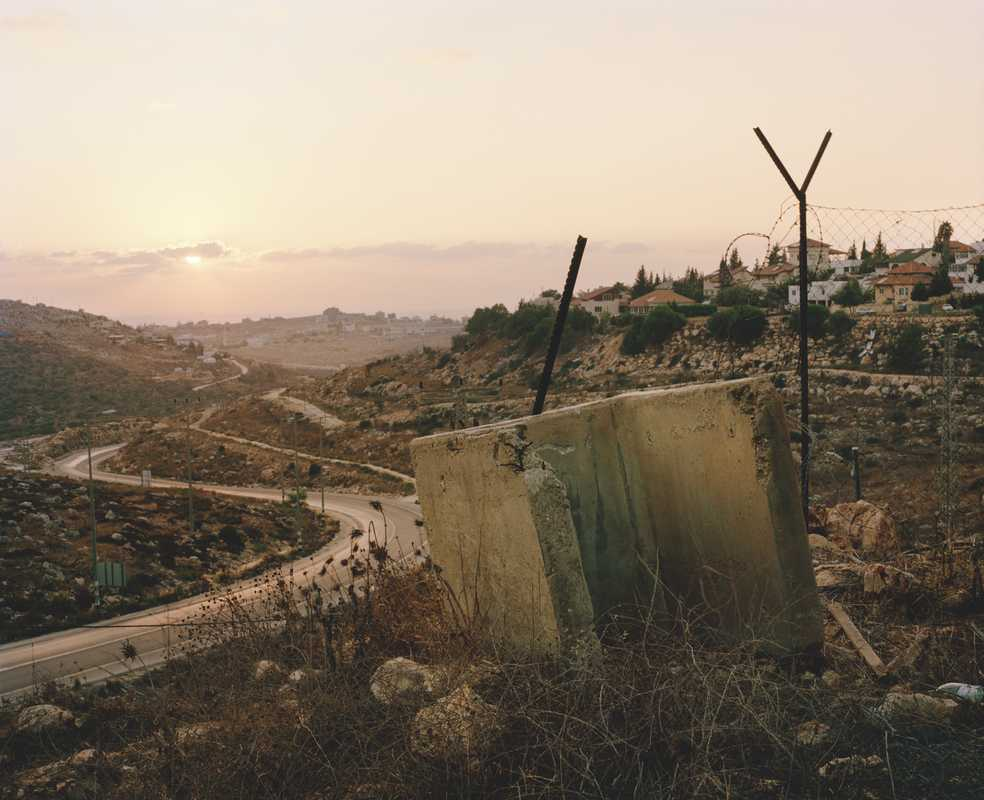 Sniper's shield, near the gates of Kiryat Netafim, a Jewish settlement that has controversially expanded into the West Bank