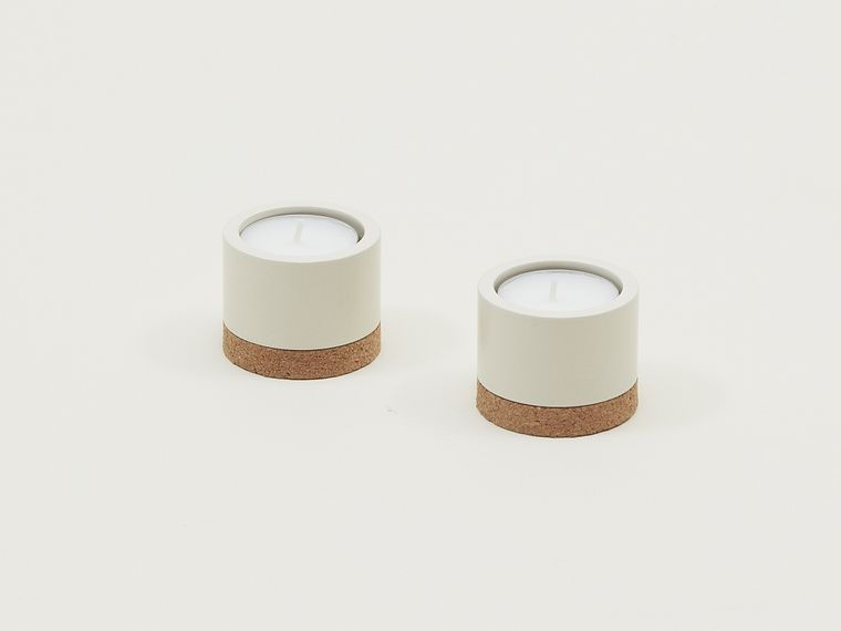 Monocle collection: coated steel candleholder set